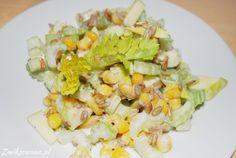 Sałatka z selerem naciowym i kukurydzą Cobb Salad, Potato Salad, Potatoes, Vegetables, Ethnic Recipes, Food, Potato, Essen, Vegetable Recipes