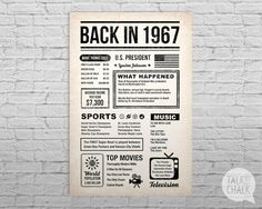 This BACK IN THE DAY poster is filled with fun facts and highlights of what happened in the year 1967. This poster has an antiqued paper background for for that back in the day vintage newspaper feel. Bold typography with simple icons give the poster a timeless style. This poster makes a great conversation piece at parties and a fantastic keepsake gift when printed and framed. Please CAREFULLY read the points below before purchasing! ♦ ALL ITEMS in my shop are DIGITAL FILES ONLY ♦ No…