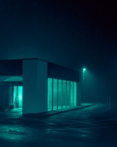 Dystopian Images Explore a Foggy Irish Town Drenched in Aquamarine Light - Dr Wong - Emporium of Tings. Cinematic Photography, Urban Photography, Night Photography, Neon Aesthetic, Night Aesthetic, Rpg Cyberpunk, Pics Art, Colossal Art, Architecture