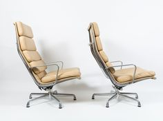 Herman Miller Eames Aluminum Group Soft Pad Lounge Chair Pair #HermanMiller
