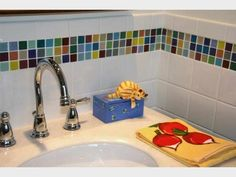 mix and match pick and stick tiles. clever. You can use subway tiles or metal tiles too.