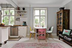 Karl X Gustavs gata Helsingborg — Bjurfors Blue Grey Walls, Kitchen Dining, Dining Room, Helsingborg, Corner Desk, Cabinet, Bed, Table, Inspiration