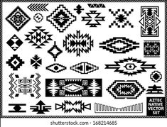 Similar Images, Stock Photos & Vectors of Set of Aztec style ornaments and arrows. American indian ornamental pattern design collection. Tribal decorative templates. Ethnic ornamentation. EPS 10 vector. Isolated on the white background. - 482219830 | Shutterstock Native American Patterns, Native American Symbols, Native American Design, Native American Indians, Native Symbols, Indian Symbols, Native Art, Motif Navajo, Navajo Pattern