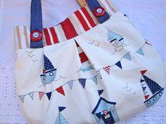 Cotton Handbag - beach scene - beach huts - boats - bunting - slip pocket. £20.00