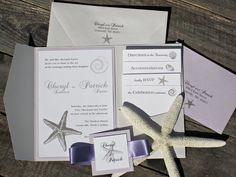Starfish Wedding Invitation - Pocketfold Beach Elegant Classic Ocean Sea with Purple and White.