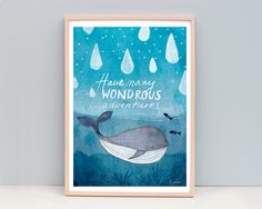 Watercolor Whale Raindrops print by honeycup on Etsy
