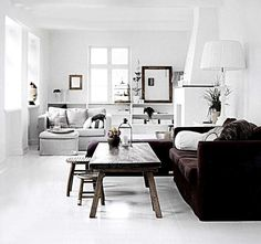 White Brown Living Room Style Scandinave Danish Interior Design Styling