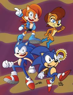 Sonic SatAm Anniversary Collab by SlySonic on DeviantArt Sonic Satam, Sonic Art, Sonic Boom, Archie Comics Characters, Sally Acorn, Sonic Heroes, Fox Art, Movie Wallpapers, Comic Character