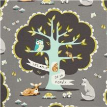 gray Michael Miller flannel fabric with forest animals USA