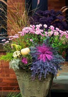 fall container, container planting, ornamentals