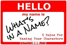 What's in a Name: 5 Rules for Naming Your Characters | www.Fiction411.com
