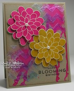 New technique I created....Texture with Modeling Paste using Build a Banner Chevron Stencil and Modeling Paste. Flower Patch photopolymer stamps add color and pop.  Card created by Lori Mueller with all of the deets and recipe on www.stampindreams.com