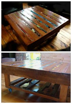 A coffee table made from recycled wood pallets. Instead of finishing their lives in garbages I've decided to recycle some of them for my appartment, and si