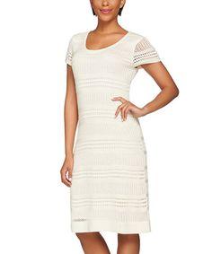 Look at this #zulilyfind! Cream Pointelle Cap-Sleeve Sweater Dress - Plus Too #zulilyfinds