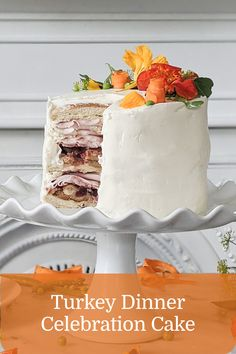 Anything is possible with turkey! Chef Jennifer Crawford created this masterpiece Turkey Dinner Celebration Cake using turkey deli meat, cream cheese, veggies, and fresh herbs. Celebrate with turkey tonight! Anything Is Possible, Celebration Cakes, Fresh Herbs, Deli, Vanilla Cake, Veggies, Turkey, Cheese, Entertaining