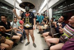 A man wearing a sombrero, a Mexican wrestling mask and no trousers takes part in the international No Pants Subway Ride in Mexico City  Picture: REUTERS/Henry Romero