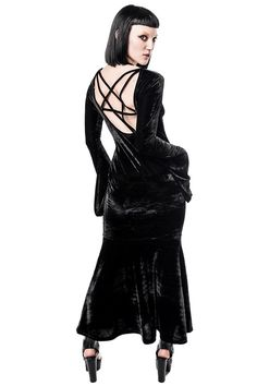 BATHORY. All Black Everything VS All Velvet Everything. - Luxe Velvet.- Plunging Neck.- Open-Back.- Pentagram Detailing.- Fitted. Revamped classic with low neck