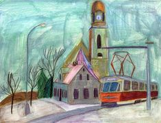 """""""Tram in Liberec with church"""" by Lorenzo-CZ Home Decor Accessories, Decorative Accessories, Canvas Prints, Framed Prints, Art Prints, Art Boards, Colored Pencils, Travel Mug, Wall Art"""