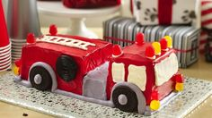 Create four-alarm excitement with a fire engine cake!  Print out this template and use it as a guide to cutting and assembling your fire engine.