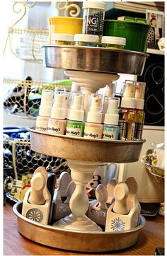 Make your own tiered organizer | Craft Storage Ideas  I need to do this in my bathroom