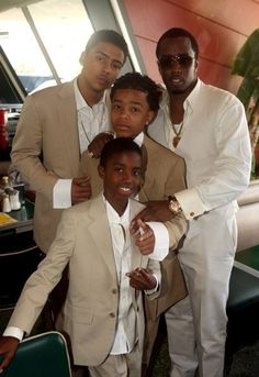 """Sean """"Puffy"""" Combs aka Diddy and his sons Christian, Justin, and Quincy (Al B Sure's son) Black Fathers, Fathers Love, Father And Son, All In The Family, Family Love, Beautiful Family, Beautiful Babies, Father Knows Best, Black Celebrities"""