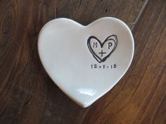 monogram ring dish, engagement ring holder, custom ceramic heart shaped jewelry bowl, Black and White Pottery, Gift Boxed