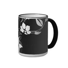 White Floral on Black Coffee Mug