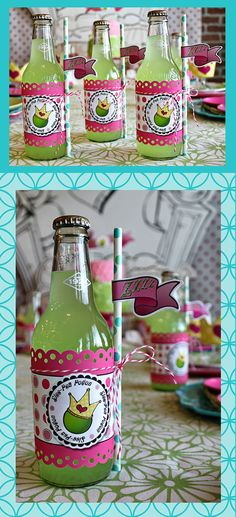 Labels, green drink...Too much? (Princess and the pea party)