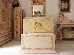 Romantic pink baby chest, Sweet  nursery, Wooden furniture for a dollhouse in 1:12th scale