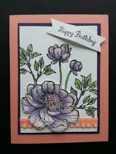 Stampin' Up! Bloom with Hope and aqua painter Handmade Birthday Cards, Greeting Cards Handmade, Scrapbook Designs, Watercolor Cards, Sympathy Cards, Cool Cards, Flower Cards, Anniversary Cards, Homemade Cards