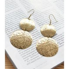 Floral Disc Drop Earrings Bronze - One Size