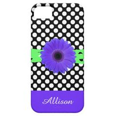 Cute Black & White Polka Dots w Purple Daisy & Lime Ribbons, Personalize with your name on the matching purple bottom