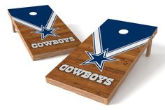 """Up your game"" with these officially licensed Dallas Cowboys cornhole boards! Whether you're tailgating every weekend or taking to the backyard before the big game, show your pride with the highest qu"