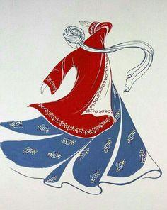 Original Painting Whirling Dervish Sufi Dance Rumi Miniature by AEDesignHouse on Etsy Islamic Art Pattern, Pattern Art, Folk Art Flowers, Flower Art, Nemo, Stencils, Iranian Art, Turkish Art, Silk Art