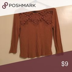 American Eagle crochet top! Dark mustard yellow too from American Eagle! It's a slight cropped fit with crochet detail around the neck line. American Eagle Outfitters Tops Blouses