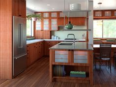 Rustic cherry cabinets. Zen/Asian themed kitchen.