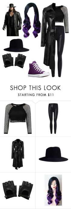 """""""Jester Ring Gear: Undertaker Inspired (Outfit #3)"""" by trashy-emo ❤ liked on Polyvore featuring Helmut Lang, Janessa Leone, Hot Topic, Converse, WWE, ringgear and Undertaker"""