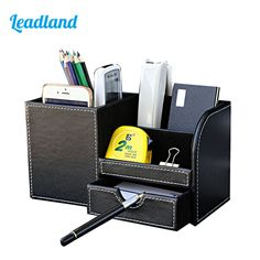Business Name Cards Remote Control Large Assortment Pen Holders 1pcs Pu Leather Multi-function Desk Stationery Organizer Storage Box Pen/pencil,cell Phone