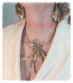 FLOWER SPINE Sets  Wire Sculpture Necklace by CamelysUnikatBijou
