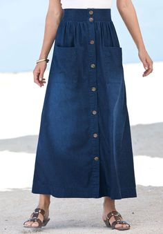 Plus Size Shirred Waist Denim Maxi Skirt | Plus Size 100 Items at 50% off | Roamans