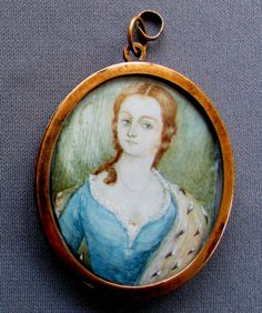 ANTIQUE 18th Century MINIATURE PORTRAIT PAINTING with Mourning Hair Wreath