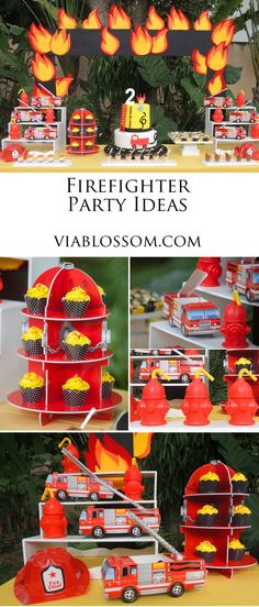 Fireman Party ideas for your little firefighter!  Fire Hydrant cupcake stand, fire engine favor boxes and more!