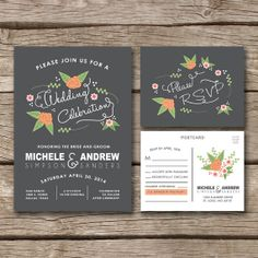 Illustrated Flowers // Wedding Invitation & RSVP Postcard