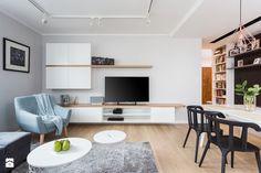 Mieszkanie dla rodziny - Średni salon z jadalnią, styl skandynawski - zdjęcie od ZAWICKA-ID Projektowanie wnętrz