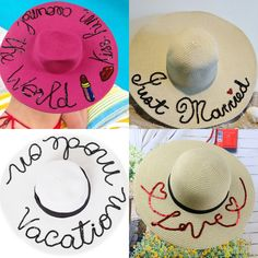 Chapéu de Praia Personalizado – Sonhos na Mochila Diy Hat, Vacation Outfits, Summer Hats, Sun Hats, Ibiza, Weaving, Arts And Crafts, Make It Yourself, Boho