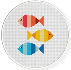 Colorful Fishies Handmade Unframed Cross by CustomC .-Buntes Fishies handgemachtes ungerahmtes Kreuz durch CustomCraftJewelry Items… Colorful Fishies Handmade Unframed Cross by CustomCraftJewelry Items available at Etsy Store - Cross Stitching, Cross Stitch Embroidery, Embroidery Patterns, Hand Embroidery, Modern Cross Stitch Patterns, Cross Stitch Designs, Kids Room Wall Art, Room Art, Le Point