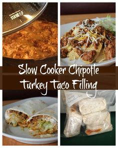 Slow Cooker Chipotle Turkey Taco Filling Make Ahead and Freeze Recipe. This is one of my favorite crockpot recipes. It can be used in a variety of healthy mexican recipes. Ww Recipes, Mexican Food Recipes, Cooking Recipes, Healthy Recipes, Cooking Tips, Freezer Recipes, Cooking Classes, Healthy Habits, Drink Recipes