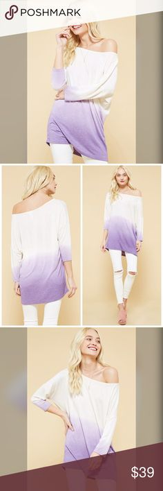 PREORDER  Dip Dye Lilac 3qtr Sleeve Soft Tunic! Loose fit, dip-dye wash knit top featuring one-shoulder and 3/4 sleeves. This top is made with medium weight dip-dye wash fabric that is very soft and drapes beautifully.  Made in  USA Tops Tunics