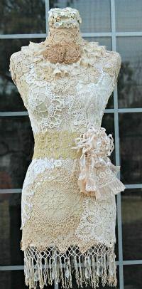 Vintage dress form covered in vintage lace, crochet, buttons & crystal drops… Antique Lace, Vintage Lace, Vintage Dresses, Vintage Outfits, Lace Dresses, Mannequin Art, Dress Form Mannequin, Corsets, Vintage Accessoires