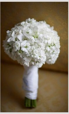 Round Wedding Posy Comprised Of: White Dendrobium Orchids + White Stock